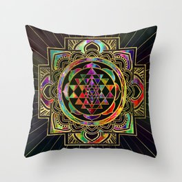 Colorful Gold framed Sri Yantra Sri Chakra Throw Pillow