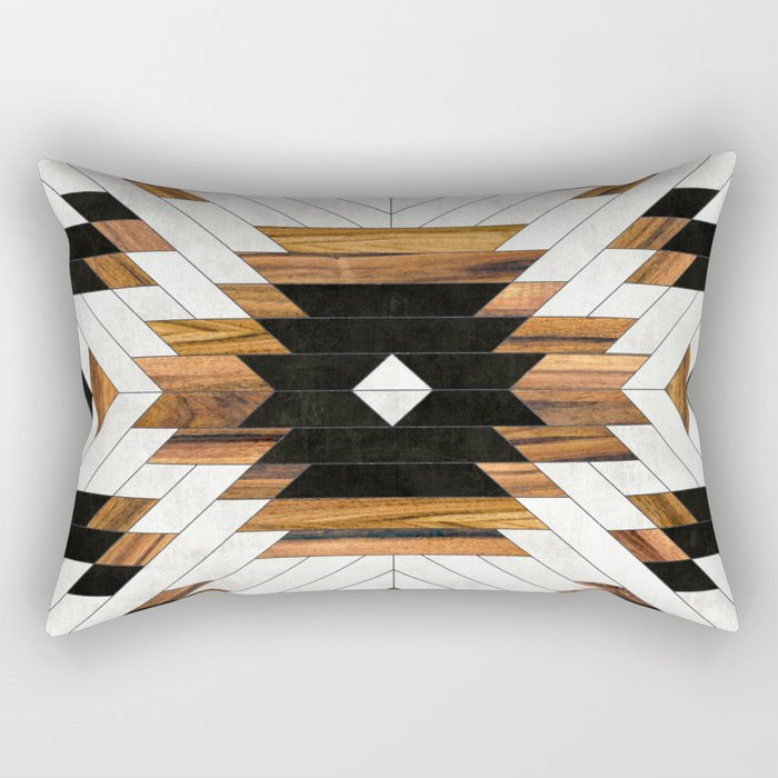Urban Tribal Pattern 5 - Aztec - Concrete and Wood Rectangular Pillow