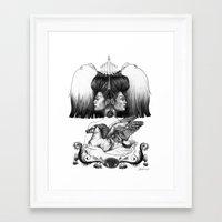 gemini Framed Art Prints featuring Gemini by Deborah Panesar Illustration
