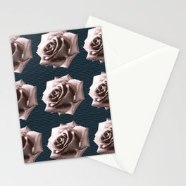 Rosy striped roses Stationery Cards