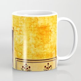 Antique door in India - Bright yellow marigold wall Coffee Mug