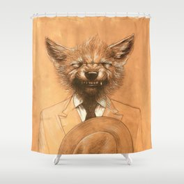 Young Wolf in a Suit Shower Curtain