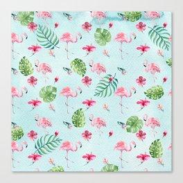Watercolor blue green tropical floral pink flamingo Canvas Print