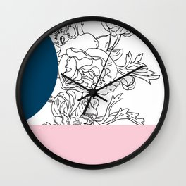 VESSEL - Floral Ink in Peacock & Pink - Cooper and Colleen Wall Clock