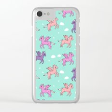 Pegasus pattern drawing cute kids neon print clouds unicorns by andrea lauren Clear iPhone Case