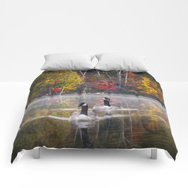 Two Canada Geese swimming in Fall Comforters