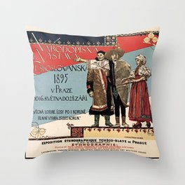 Czechoslav ethnographic exposition vintage ad Throw Pillow