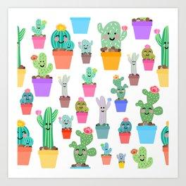 Sunny Happy Cactus Family Art Print