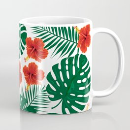 Tropical Leaves Hibiscus Flowers Coffee Mug