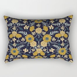 Navy Blue, Turquoise, Cream & Mustard Yellow Dark Floral Pattern Rectangular Pillow