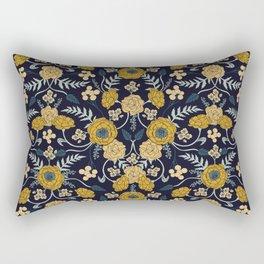 Navy Blue, Turquoise, Cream & Mustard Yellow Dark Floral Pattern Rectangular Pillow