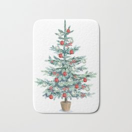Christmas tree with red balls Bath Mat