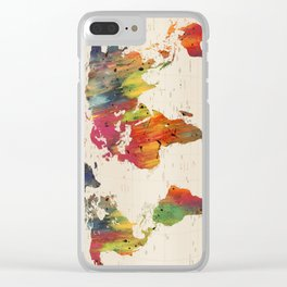 ALLOVER THE WORLD-Painted map Clear iPhone Case