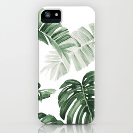 Monstera and Banana Leaves iPhone Case