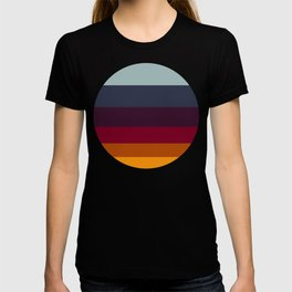 Colorful Jewel Tones Navy Honey & Purple Stripe Pattern T-shirt
