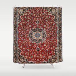 N63 - Red Heritage Oriental Traditional Moroccan Style Artwork Shower Curtain