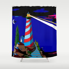 A Night at the Lighthouse with Search Light Active Shower Curtain