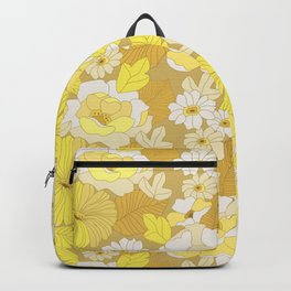 Yellow, Ivory & Brown Retro Flowers Backpack
