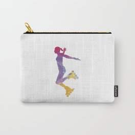 Woman in roller skates 03 in watercolor Carry-All Pouch