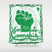 cannabis Shower Curtains featuring Yes We Cannabis by ART to GO Sasso