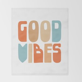 Good Vibes. Retro Lettering in Orange, Tan, and Light Blue on White. Spread Positivity Throw Blanket