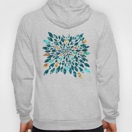 Glitter Dahlia in Gold, Aqua and Ocean Green Hoody