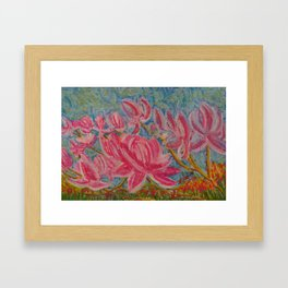 Japanese Pink Magnolia in the Lowcountry Framed Art Print