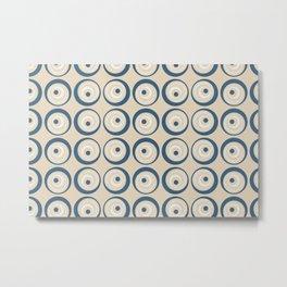 Tan, Mid-tone Blue, Beige, and off White Wobbly Wacky Circle Dot Geometric Pattern 2 Metal Print