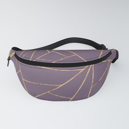 Plum Purple and Gold Geometric Lines Fanny Pack