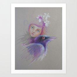 girl with crow Art Print