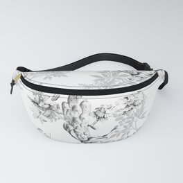 PEACOCK LILY TREE AND LEAF TOILE GRAY AND WHITE PATTERN Fanny Pack