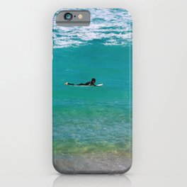 Surfer paddling to the surf at Bronte Beach. Sydney. Australia. iPhone Case