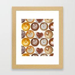 Latte Polka Dots in White Framed Art Print