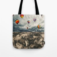 balloons Tote Bags featuring Balloons by Mrs Araneae