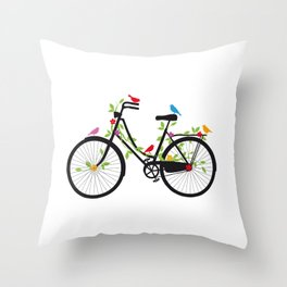 Old bicycle with birds Throw Pillow