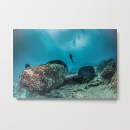 shipwreck and diver Metal Print