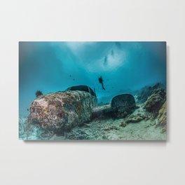 shipwreck and diver Metal Print