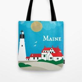 Maine - Skyline Illustration by Loose Petals Tote Bag