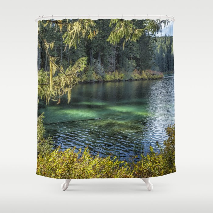 Emerald Tones of Clear Lake Shower Curtain
