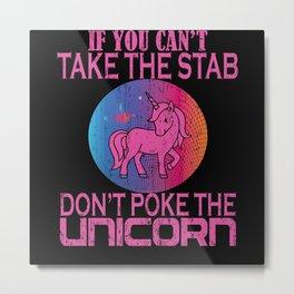 Unicorn Cute Poke Horse Metal Print