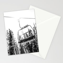 Empty Skilift // Black and White Snowboarding Dreaming of Winter Stationery Cards