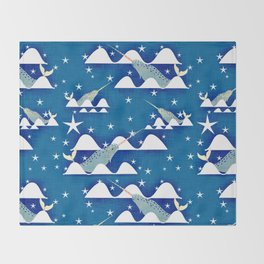 Sea unicorn - Narwhal blue Throw Blanket