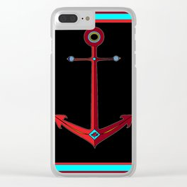 Rose Anchor with Black Background Clear iPhone Case