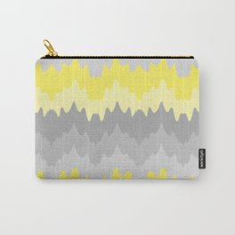 Yellow Grey Gray Ombre Chevron Abstract Zigzag Carry-All Pouch