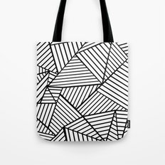 Abstraction Lines Close Up Black and White Tote Bag