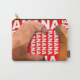 Love Heart One Hand with Banana Food Fruit Red Background Design Illustration Carry-All Pouch