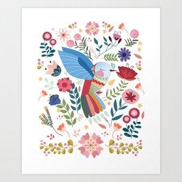 Folk Art Inspired Hummingbird In A Burst Of Springtime Blossoms Art Print