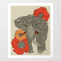 patterns Art Prints featuring The Elephant by Valentina Harper