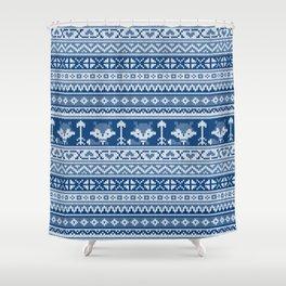 Fair Isle Fox Blue - White Shower Curtain