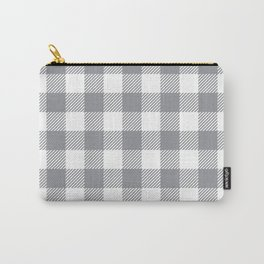 Buffalo Plaid - Grey & White Carry-All Pouch